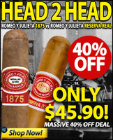 Romeo Y Julieta 1875 Robusto vs Reserva Real Robusto (5x50 / 10 PACK BLOWOUT) + 40% OFF!