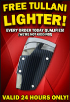 Wednesday FREEBIE: FREE TULLANI REFILLABLE TORCH LIGHTER WITH YOUR ORDER!