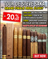Steve Saka Grand Finale Mega Flight (9 Pack Sampler) + 20% OFF RETAIL PRICING + $40 FREE 3-PACK OF STEVE SAKA CIGARS + FREE SHIPPING ON YOUR ENTIRE ORDER!