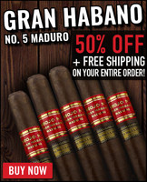 *SOLD OUT* Gran Habano #5 Maduro Corojo Toro (6x54 / 20 PACK SPECIAL) + 50% OFF! + FREE SHIPPING ON YOUR ENTIRE ORDER!
