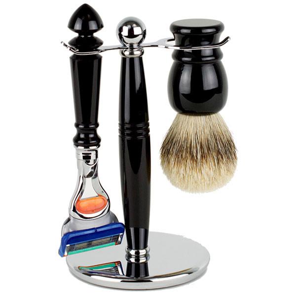 Hirsh Luxury Shaving Set - Black Resin - Fusion