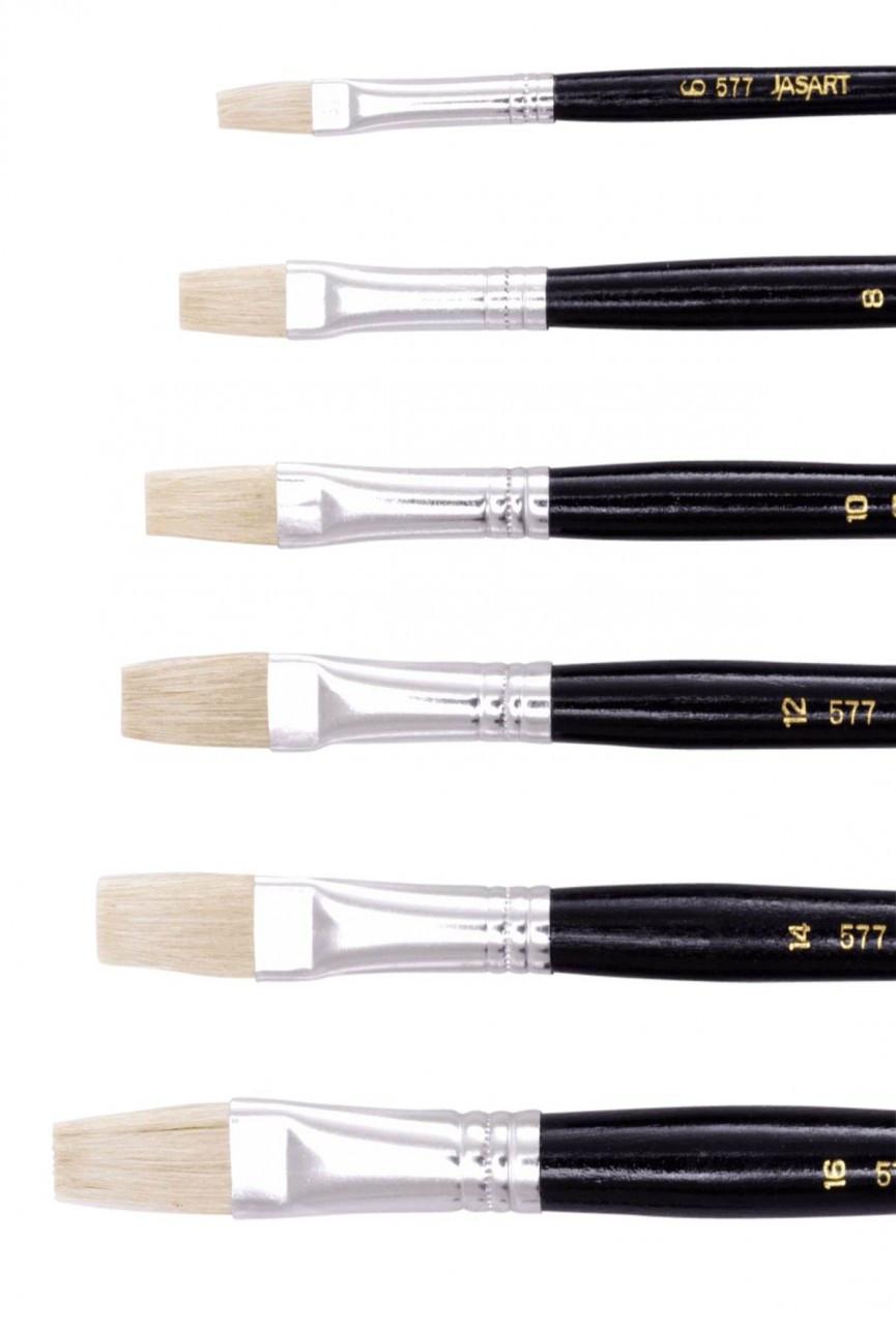 Jasart Hog Bristle Series 577 Flat Brushes Size 2 (Box 12)