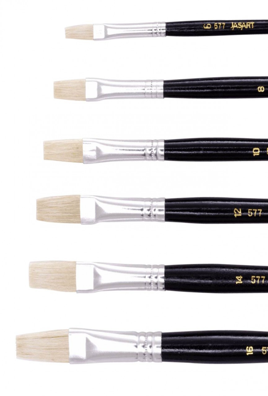 Jasart Hog Bristle Series 577 Flat Brushes Size 4 (Box 12)