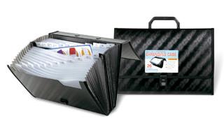 Beautone Expanding Case Euro Matte Textured Foolscap 26 Pocket - Black