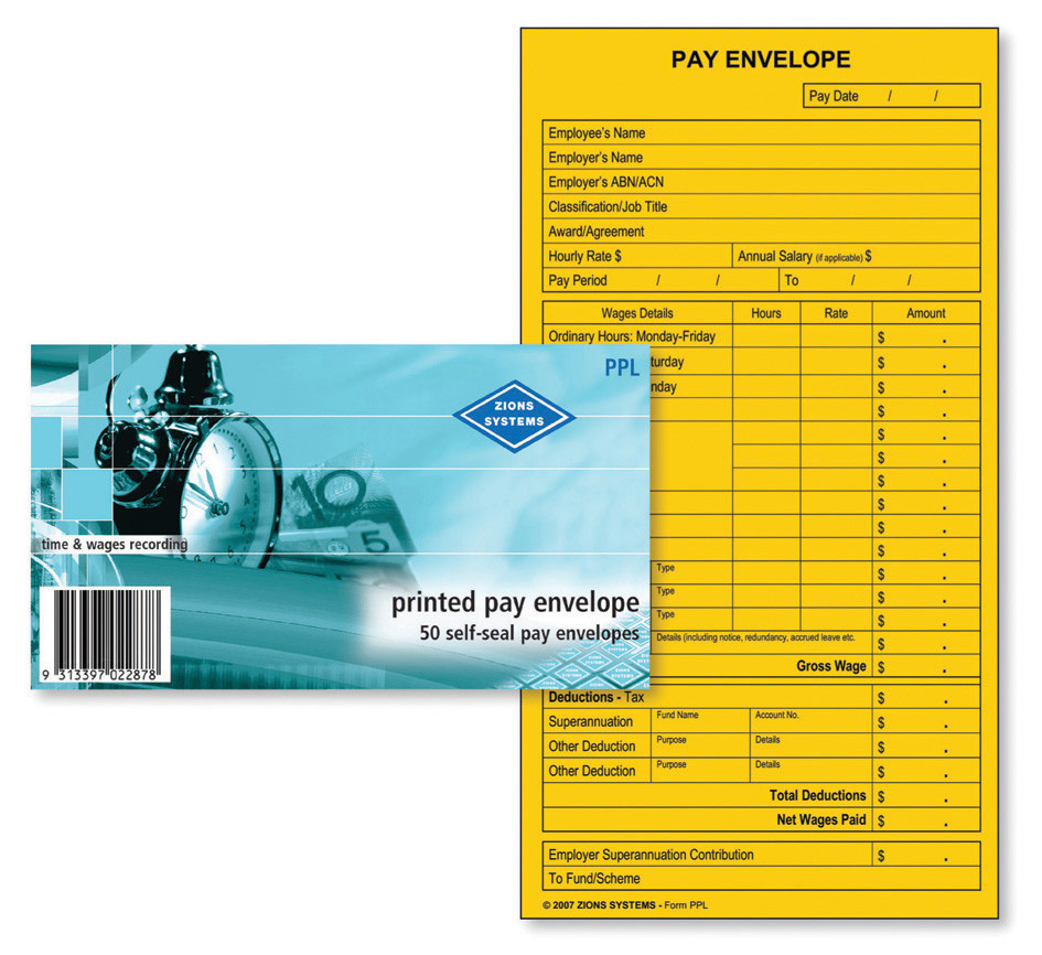 Zions Systems Printed Pay Envelope Pk50