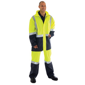 HiVis Rain Gear, Fluoro Yellow/Navy Jacket (3879)