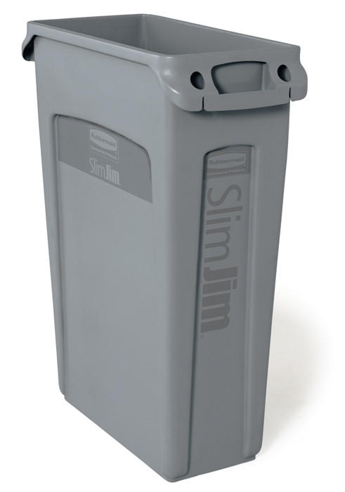Slim Jim Waste Container ONLY with Venting Channels 87.1L (Gray) | 4 Units