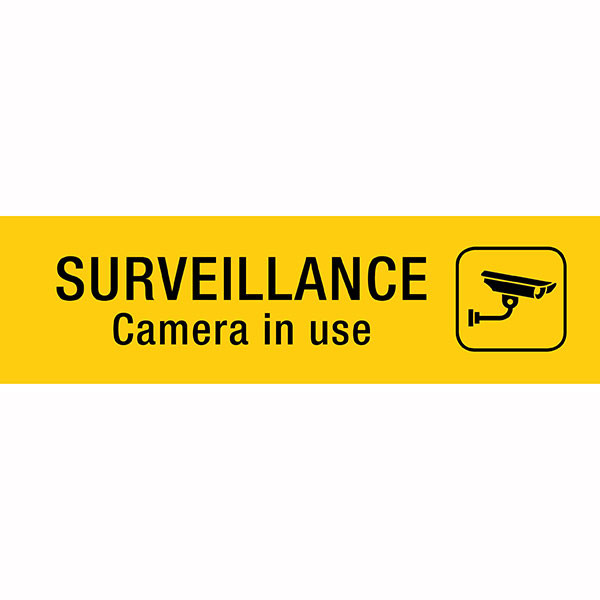 APLI SURVEILLANCE CAMERA SELF ADHESIVE YELLOW SIGN PK 1