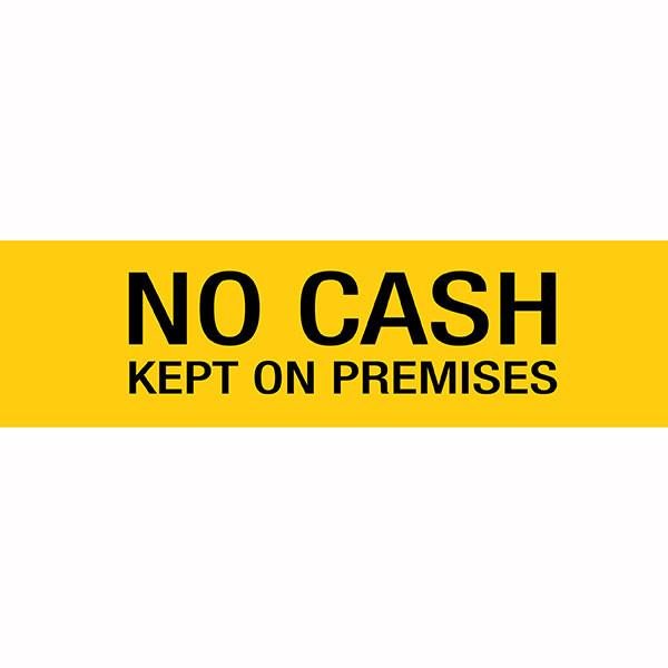 APLI NO CASH KEPT ON PREMISES SELF ADHESIVE YELLOW SIGN PK 1