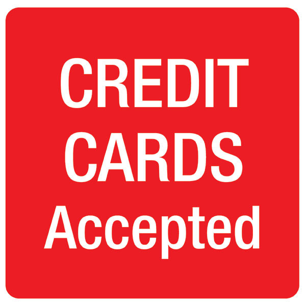 APLI CREDIT CARDS ACCEPTED SELF ADHESIVE SIGN PK 1