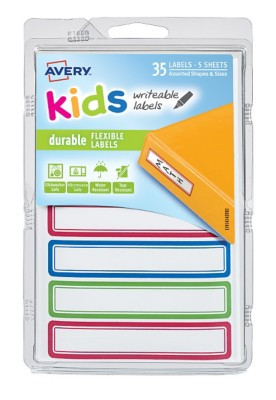 Avery Kids Writeable Labels, Rectangular, 89 x 16 mm, Lines
