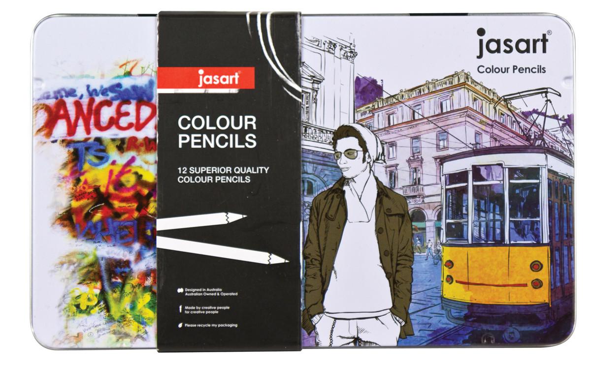 Jasart Colour Pencil Design Tin of 12