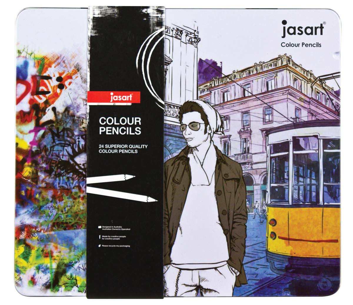Jasart Colour Pencil Design Tin of 24