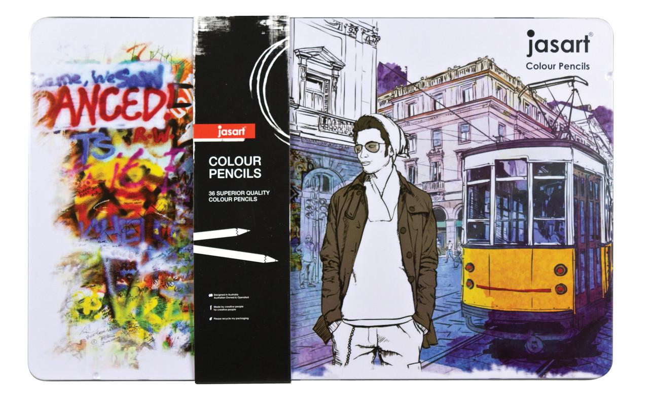 Jasart Colour Pencil Design Tin of 36