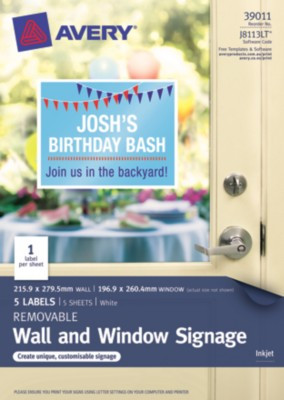 Avery White Removable Letter-Sized Window & Wall Signage - J8113LT - 5/Pack - 215.9 x 279.5 MM