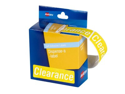 Avery Pre-printed Dispenser Labels - 'Clearance' - 64 x 19 MM - 125/Pack
