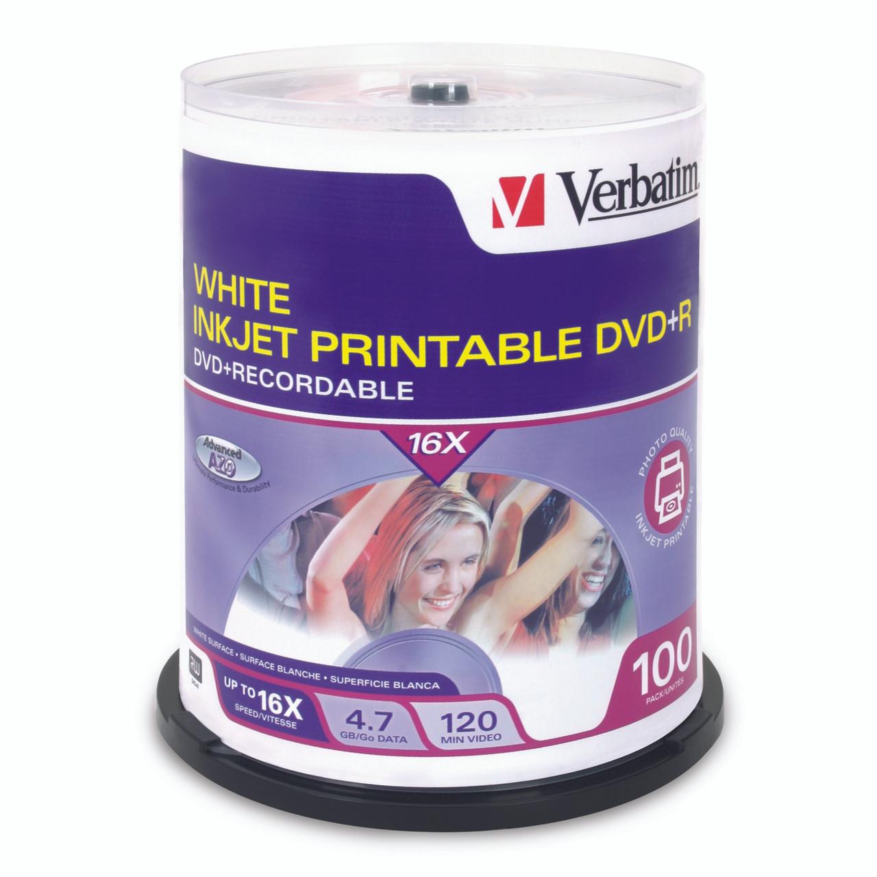 Verbatim DVD+R - 4.7GB White Inkjet Printable (4 Pack of 100 Pieces)