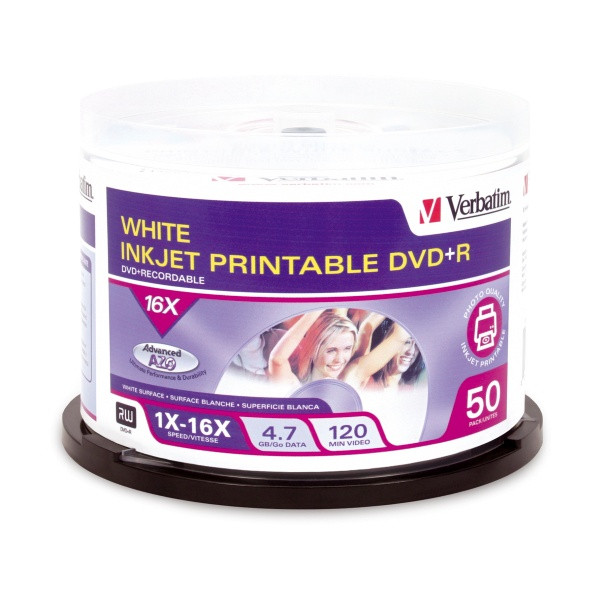 Verbatim DVD+R - 4.7GB White Inkjet Printable (4 Pack of 50 Pieces)