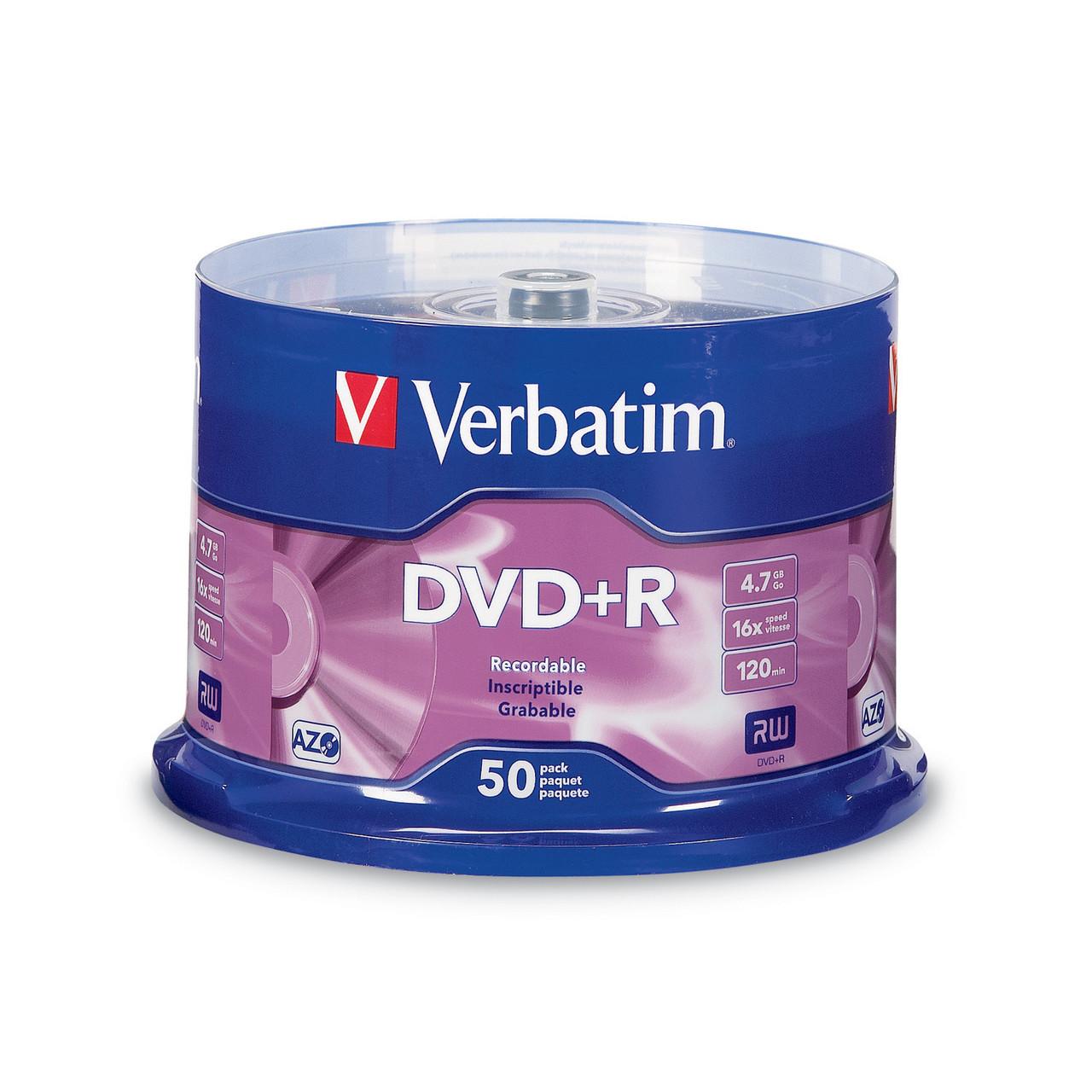 Verbatim DVD+R - 4.7GB Spindle 16X (1 Pack of 50 Pieces)