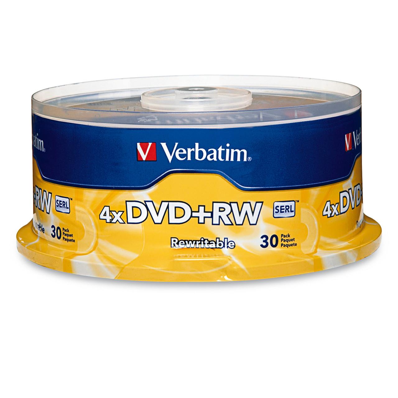 Verbatim DVD+RW - 4.7GB 4X Spindle (6 Pack of 30 Pieces)
