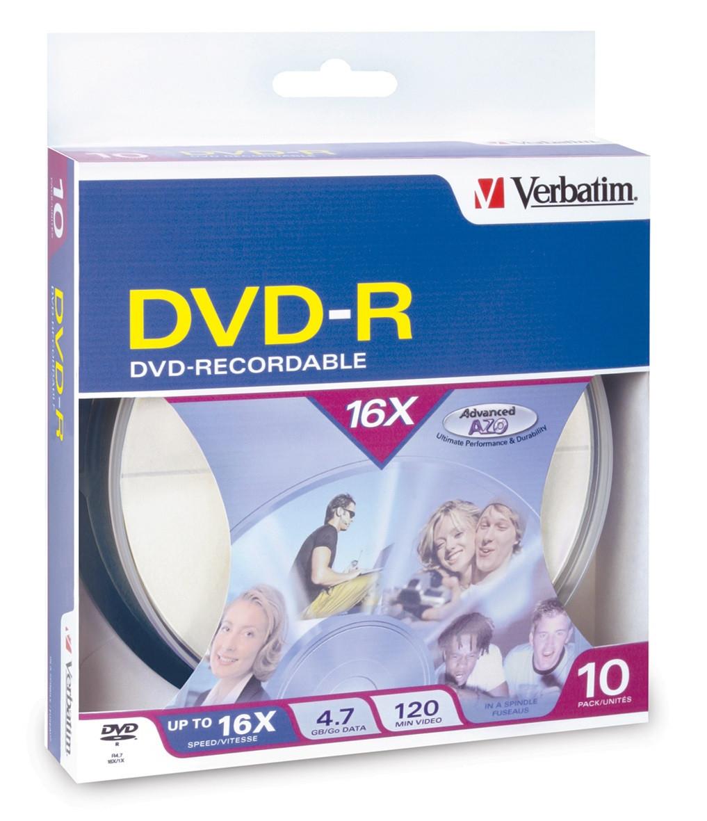 Verbatim DVD-R - 4.7GB Spindle 16X (10 Pack of 10 Pieces)