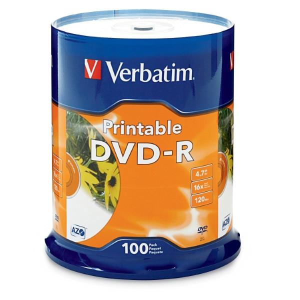 Verbatim DVD-R - 4.7GB White Inkjet Printable (4 Pack of 100 Pieces)