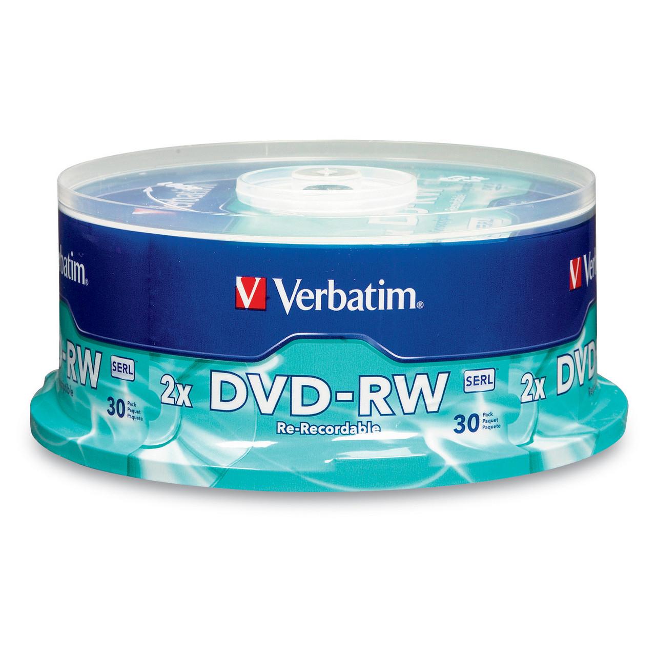 Verbatim DVD-RW - 4.7GB 2X Spindle (6 Pack of 30 Pieces)