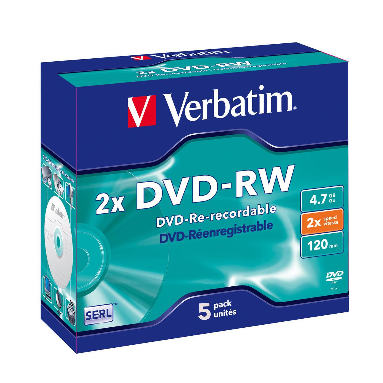 Verbatim DVD-RW - 4.7GB Jewel Case 2x (1 Pack of 5 Pieces)