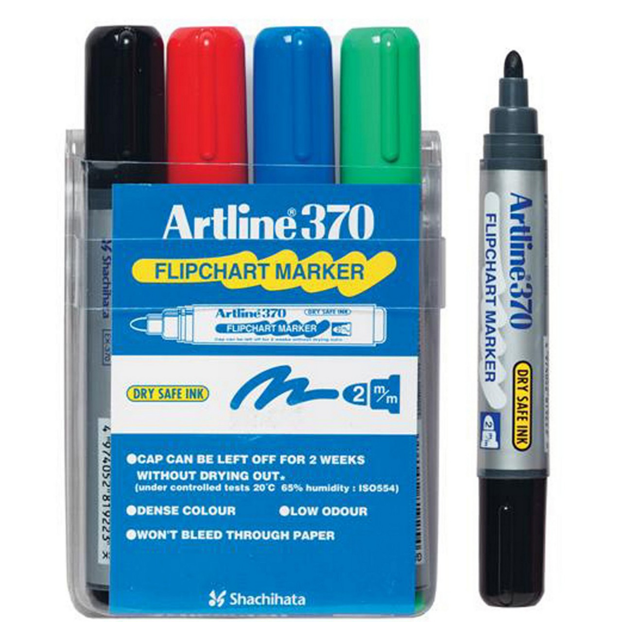 Artline 370 Flipchart Marker Assorted 2Mm Bullet Nib (Wallet 4)