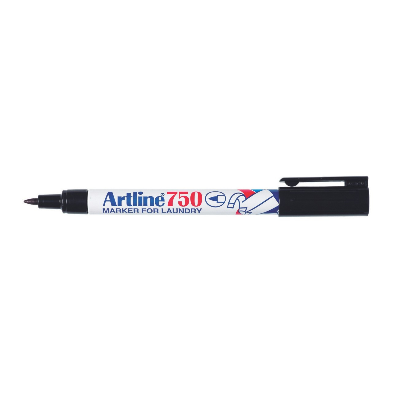 Artline 750 Laundry Marker 0.7Mm Bullet Nib Twin Black X 6 Units