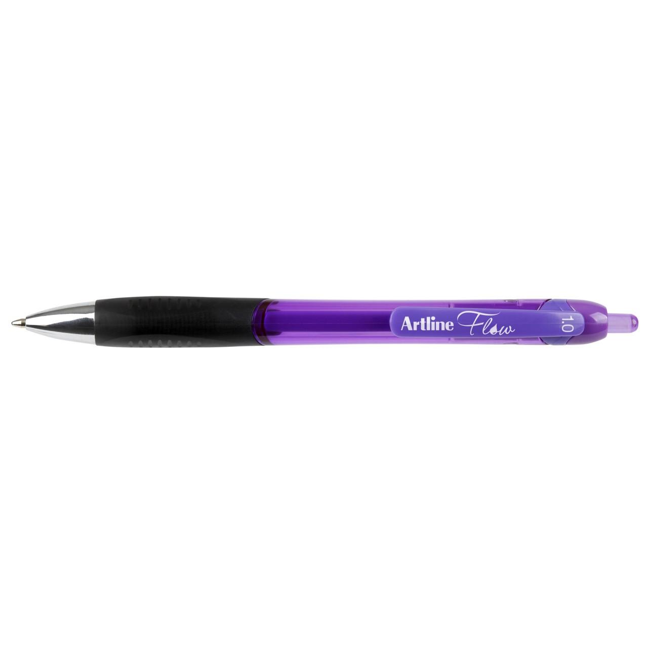 Artline Flow Retractable Pen Purple (Bx12)