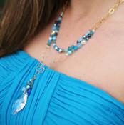 Navette Double Necklace in Ocean