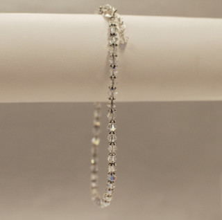 Crystal Anklet in Sterling Silver Crystal (Clear AB)