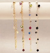 Dangle Anklets shown in (left to right): 18k Gold Vermeil Crystal (Clear AB), 18k Gold Vermeil Earth, Sterling Silver Multi, Sterling Silver Black