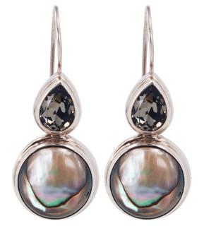 Abalone & Swarovski Black Diamond Earrings