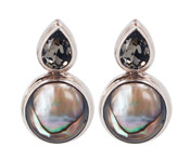 Abalone & Swarovski Black Diamond Post Earrings