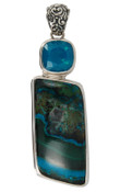 Chrysocolla & Swarovski Caribbean Blue Opal Pendant