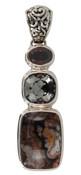 Crazy Lacy Agate, Swarovski Cushion Black Diamond & Burgundy Pendant