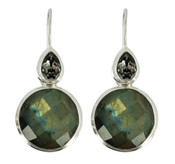Genuine Labradorite & Black Diamond Crystal Earrings