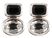 Swarovski Jet & Silver Shade Post Earrings