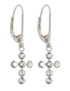 Swarovski Crystal Cross Earrings in Sterling Silver