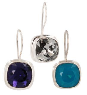 Swarovski Crystal 10mm Cushion Cut Gemstone Earrings (left to right) in Purple Velvet, Black Diamond, Caribbean Blue Opal