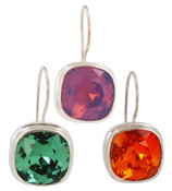 Swarovski Crystal 12mm Cushion Cut Gemstone Earrings (left to right) in Erinite, Cyclamen Opal, Fire Opal