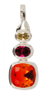 Swarovski Fire Opal, Fuchsia & Jonquil Pendant