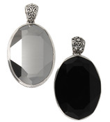 Swarovski Large Oval Gemstone Pendant in (left to right) Metallic Silver, Jet (Black)