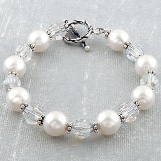 Pearl & Clear Bracelet in Sterling Silver
