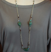 Green Agate Long Necklace