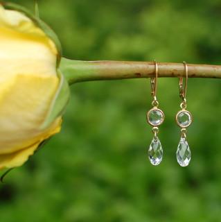 Crystal (Clear) Channel Set Brio Earrings in Gold