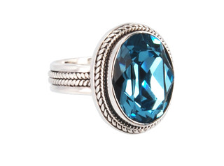 Swarovski Crystal Oval Ring in Aquamarine