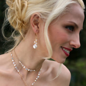 Coin Pearl Cluster Earrings in 18k Gold Vermeil, shown with Coin Pearl Lariat.